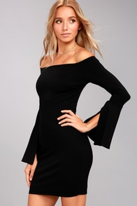 Marseille Black Off-the-Shoulder Long Sleeve Bodycon Dress