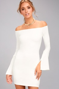 Marseille White Off-the-Shoulder Long Sleeve Bodycon Dress at Lulus.com!