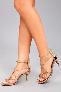 Kara Gold Patent High Heel Sandals