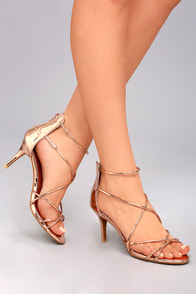 Kara Rose Gold Patent High Heel Sandals