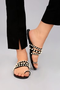 Evelyn Black Pearl Slide Sandals