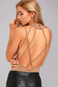 History of Time Light Brown Backless Bodysuit