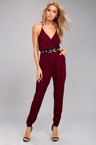 Learning to Fly Burgundy Jumpsuit