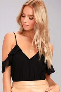 Feels Black Off-the-Shoulder Bodysuit