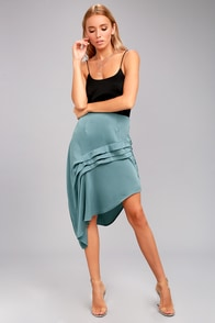 The Fifth Label Cue the Beats Slate Blue Asymmetrical Skirt