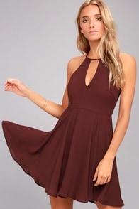 Glamorous Grace Burgundy Skater Dress