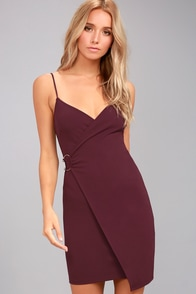 Make My Night Plum Purple Bodycon Wrap Dress at Lulus.com!