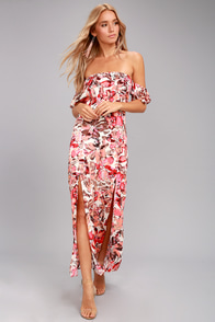 Lucy Love Dream On Pink Floral Print Off-the-Shoulder Maxi Dress