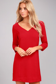 Jack by BB Dakota Luther Red Long Sleeve Dress