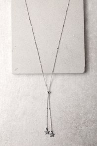 Brilliance and Beyond Silver Lariat Necklace
