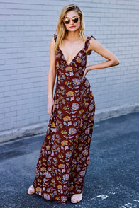 Simple Pleasure Burgundy Floral Print Maxi Dress
