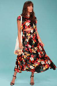 Free People Sundown Black Floral Print Two-Piece Dress