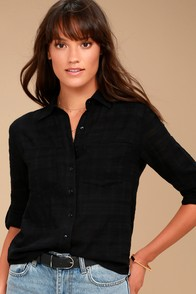Rhythm Cape Town Black Button-Up Top