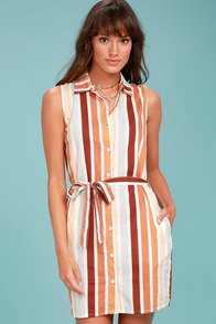 Rythm Zimbabwe Burnt Orange Striped Shirt Dress