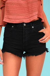 Amuse Society Kenzie Black Cutoff Denim Shorts