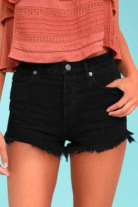 Amuse Society Kenzie Black Cutoff Denim Shorts