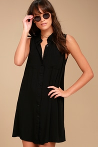 Look Into Your Heart Black Sleeveless Shirt Dress