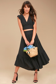 Free People Pretty Daze Black Polka Dot Two-Piece Dress