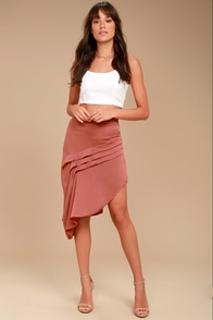The Fifth Label Cue the Beats Rusty Rose Asymmetrical Skirt