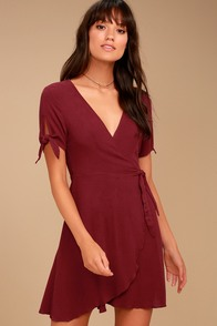 My Philosophy Burgundy Wrap Dress