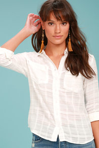 Rhythm Cape Town White Button-Up Top