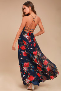 Debut Navy Blue Floral Print Lace-Up Maxi Dress