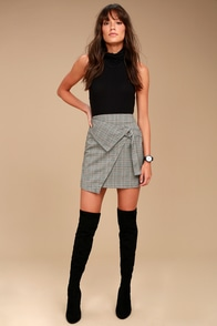The Fifth Label City Sounds Grey Plaid Wrap Skirt