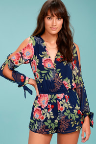 Run Away With Me Navy Blue Floral Print Long Sleeve Romper