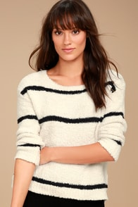 BB Dakota Karin Cream and Black Striped Sweater