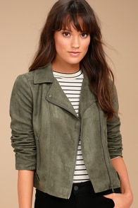 Jack by BB Dakota Johanness Olive Green Suede Moto Jacket