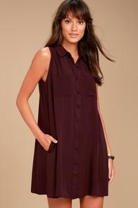Look Into Your Heart Plum Purple Sleeveless Shirt Dress