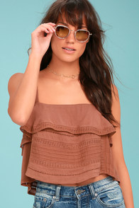 Amuse Society Hayes Brown Lace Crop Top
