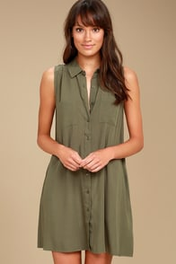 Look Into Your Heart Olive Green Sleeveless Shirt Dress