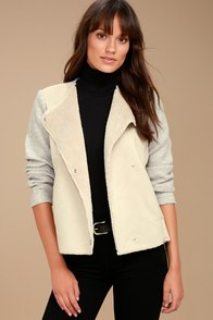 BB Dakota Glenna Heather Grey and Beige Suede Sherpa Coat