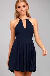Glamorous Grace Navy Blue Skater Dress