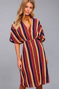 Ali & Jay Dreamer Wine Red Striped Midi Dress