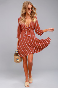 Amuse Society Let's Knot Rust Red Striped Dress