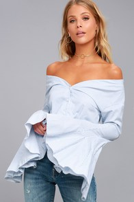Clear Sailing Blue and White Striped Off-the-Shoulder Top