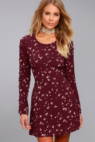 Tavik Frankie Plum Purple Floral Print Long Sleeve Dress