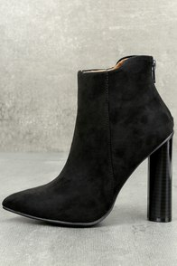 Scarlett Black Suede High Heel Ankle Booties