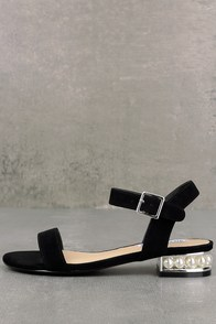 Steve Madden Cashmere Black Suede Leather Sandals