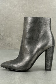Jessica Simpson Teddi Black and Gunmetal Leather Ankle Booties