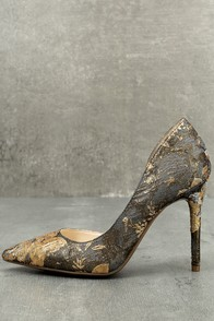 Jessica Simpson Lucina Metallic Multi Brocade D'Orsay Pumps