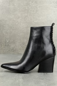 Kendall + Kylie Felix Black Leather Ankle Booties