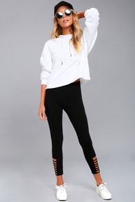 Always Upbeat Black Cropped Cutout Leggings