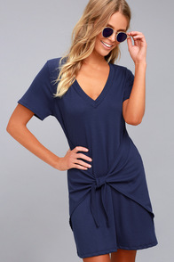 Live in Love Navy Blue Knotted Shirt Dress