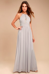 Cherish the Night Grey Lace Maxi Dress