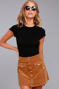 Retro Skirts: Vintage, Pencil, Circle, & Plus Sizes Rhythm Pennylane Tan Corduroy Mini Skirt $60.00 AT vintagedancer.com