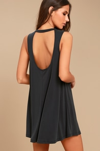 Chasing Sunshine Charcoal Grey Swing Dress
