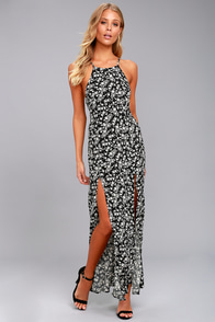 Lily Jane Black and White Floral Print Maxi Dress
